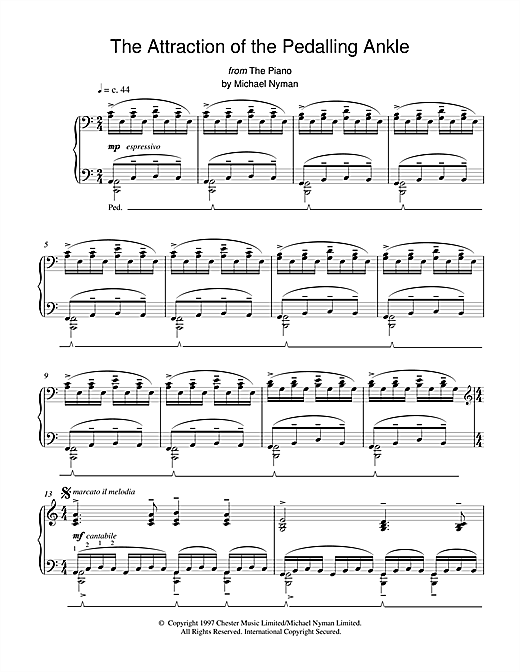 Michael Nyman The Attraction of the Pedalling Ankle (from The Piano) sheet music notes and chords