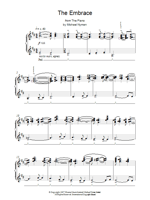 Michael Nyman The Embrace (from The Piano) sheet music notes and chords. Download Printable PDF.