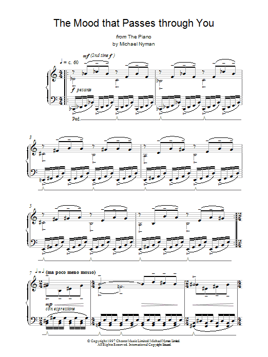 Michael Nyman The Mood That Passes Through You (from The Piano) sheet music notes and chords. Download Printable PDF.