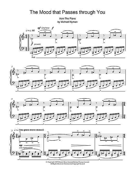 Michael Nyman The Mood That Passes Through You (from The Piano) sheet music notes and chords