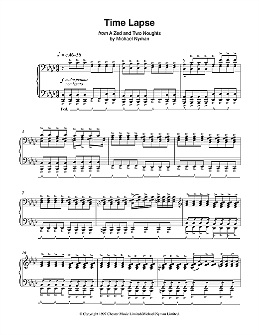 Michael Nyman Time Lapse (from A Zed And Two Noughts) sheet music notes and chords