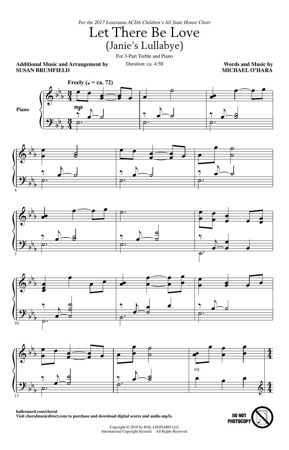 Michael O'Hara Let There Be Love (arr. Susan Brumfield) sheet music notes and chords. Download Printable PDF.