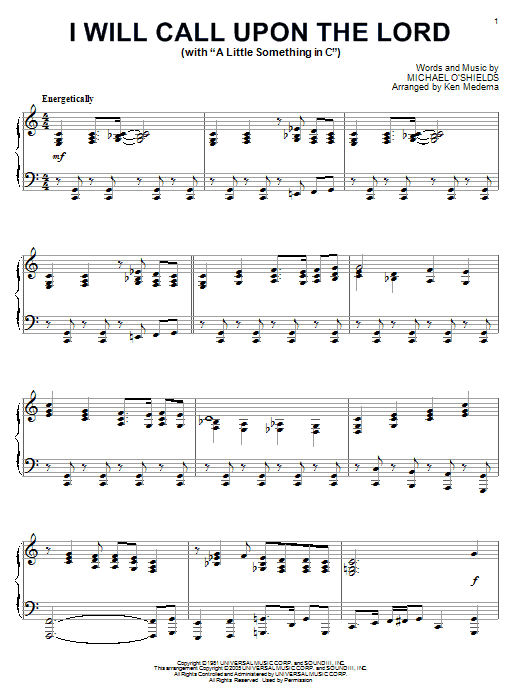 Michael O'Shields I Will Call Upon The Lord sheet music notes and chords. Download Printable PDF.