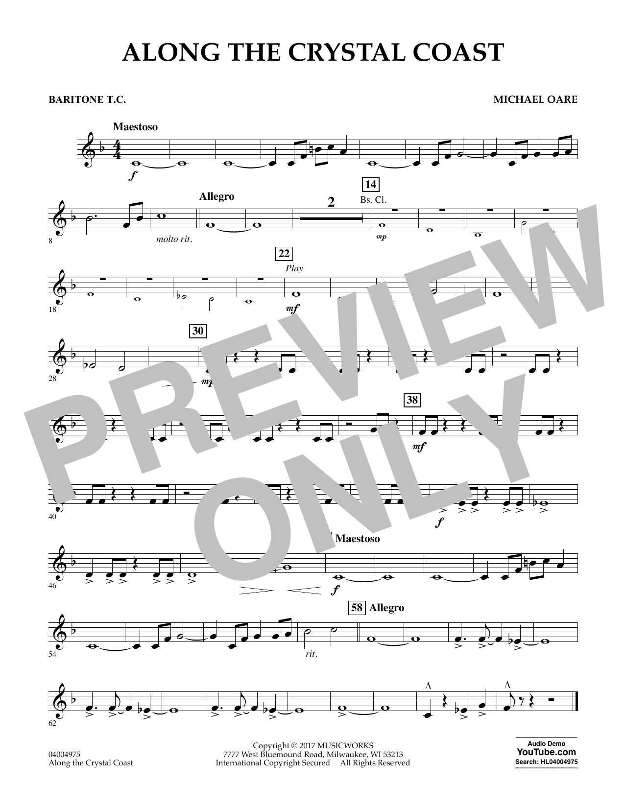 Michael Oare Along the Crystal Coast - Baritone T.C. sheet music notes and chords. Download Printable PDF.