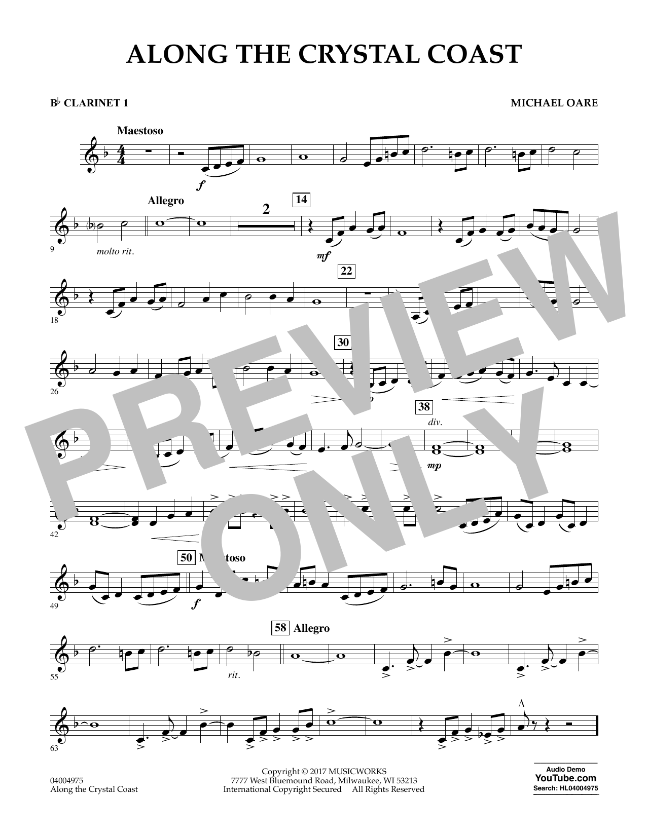 Michael Oare Along the Crystal Coast - Bb Clarinet 1 sheet music notes and chords. Download Printable PDF.