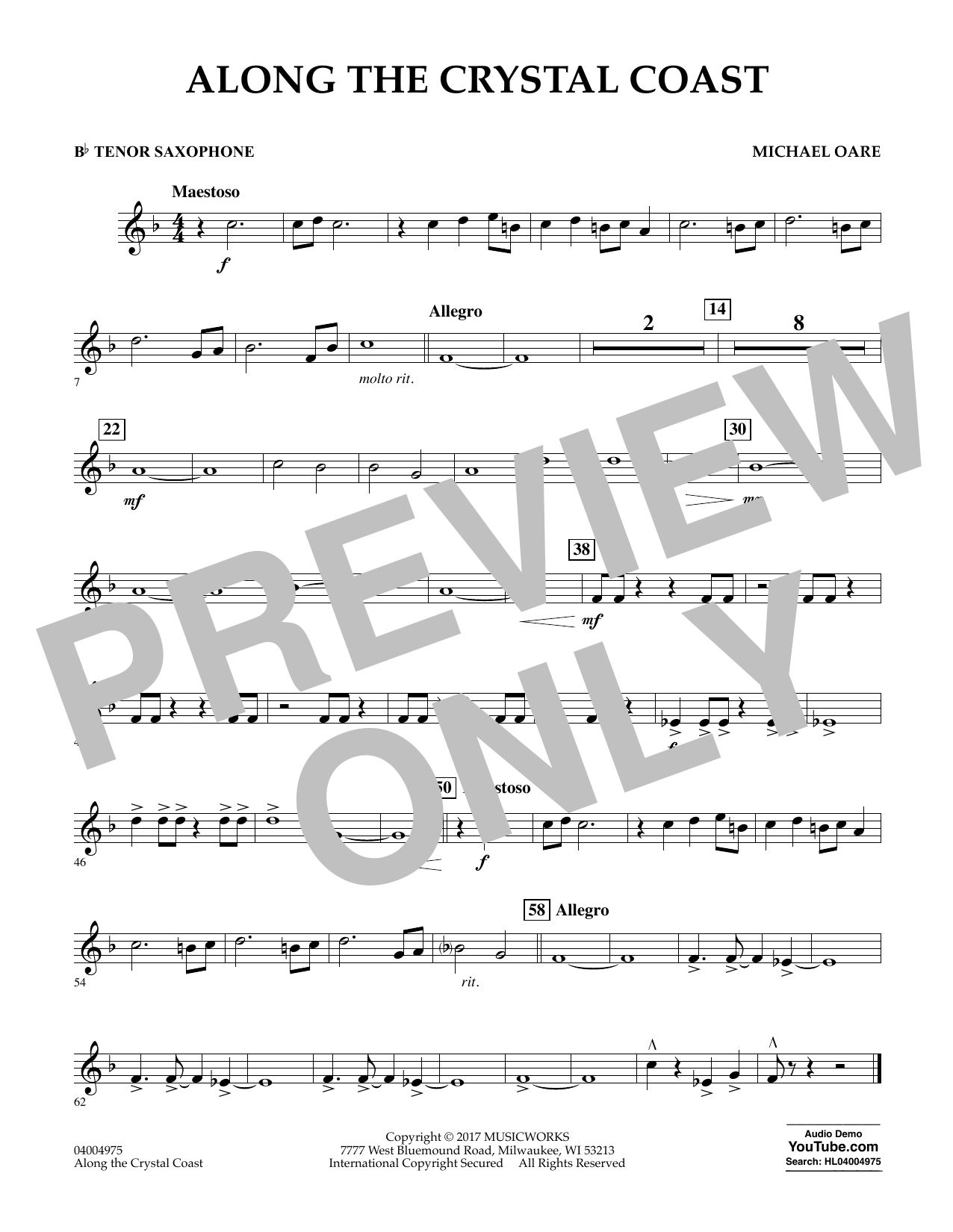 Michael Oare Along the Crystal Coast - Bb Tenor Saxophone sheet music notes and chords. Download Printable PDF.