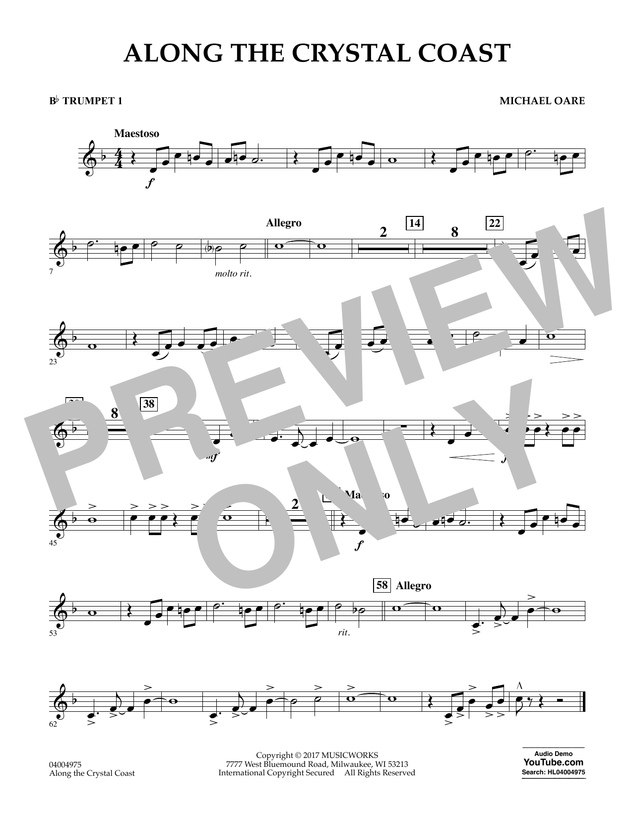 Michael Oare Along the Crystal Coast - Bb Trumpet 1 sheet music notes and chords. Download Printable PDF.