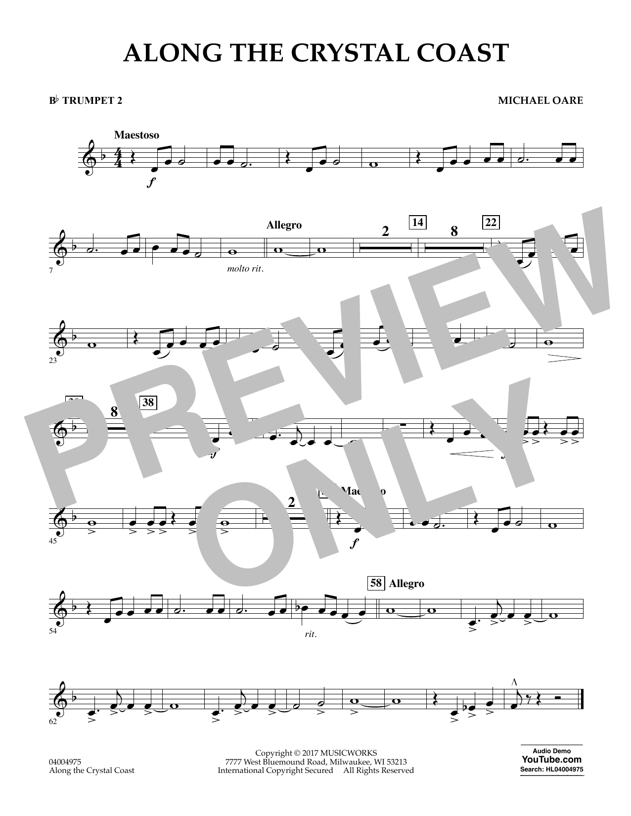 Michael Oare Along the Crystal Coast - Bb Trumpet 2 sheet music notes and chords. Download Printable PDF.
