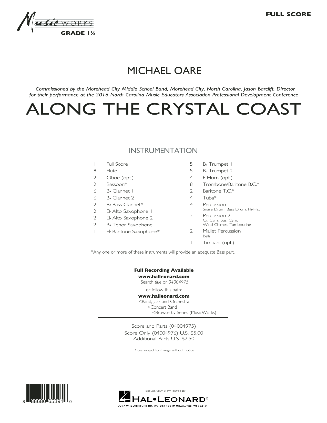 Michael Oare Along the Crystal Coast - Conductor Score (Full Score) sheet music notes and chords. Download Printable PDF.