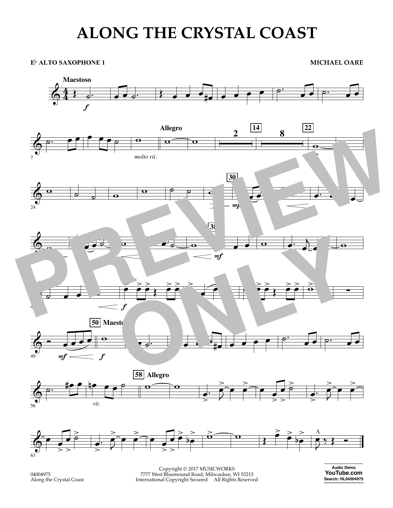 Michael Oare Along the Crystal Coast - Eb Alto Saxophone 1 sheet music notes and chords. Download Printable PDF.