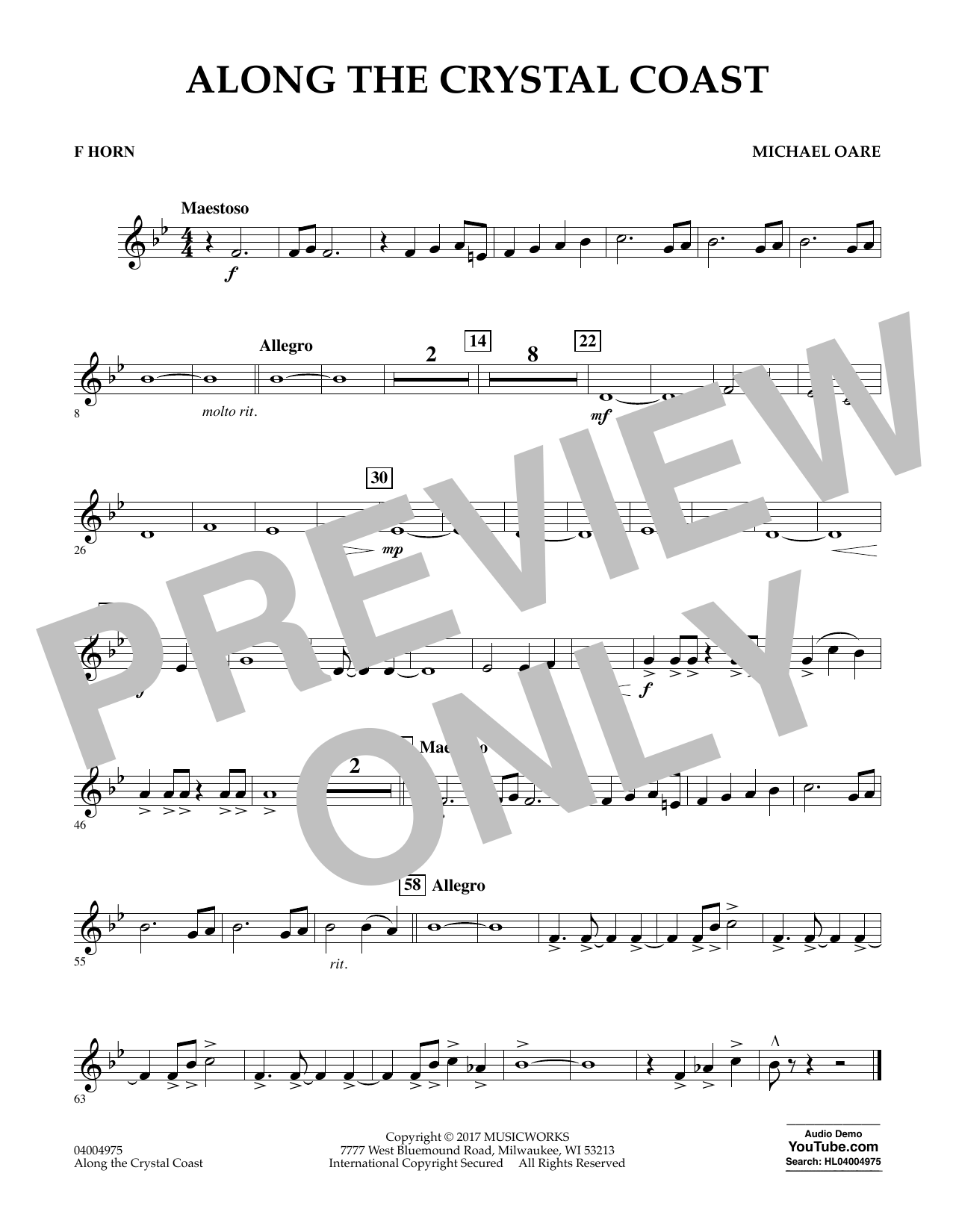 Michael Oare Along the Crystal Coast - F Horn sheet music notes and chords. Download Printable PDF.