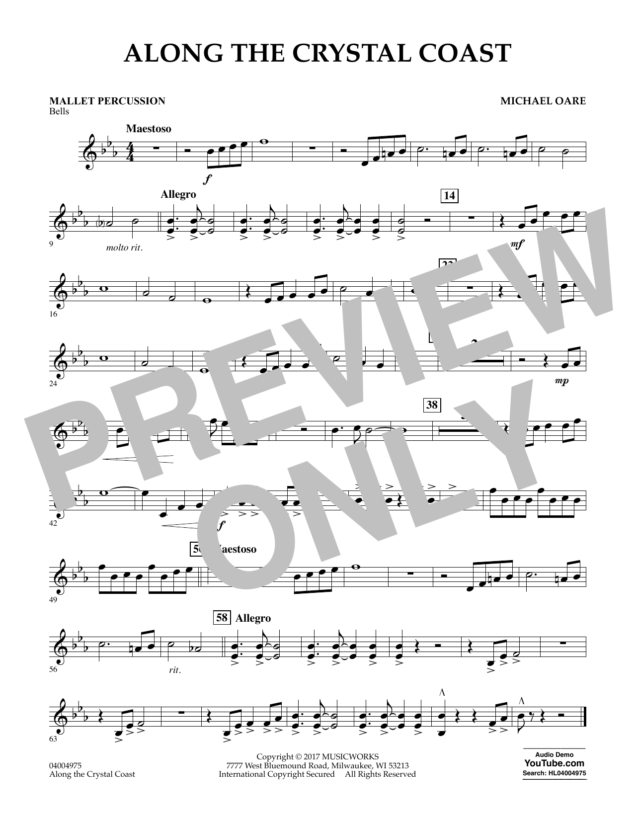 Michael Oare Along the Crystal Coast - Mallet Percussion sheet music notes and chords. Download Printable PDF.