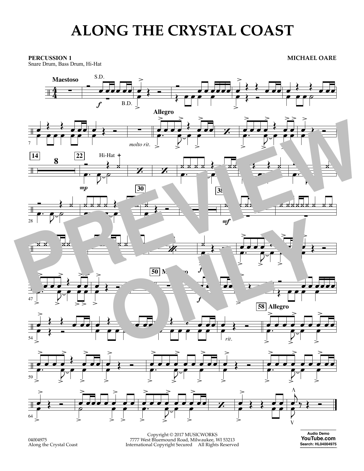 Michael Oare Along the Crystal Coast - Percussion 1 sheet music notes and chords. Download Printable PDF.