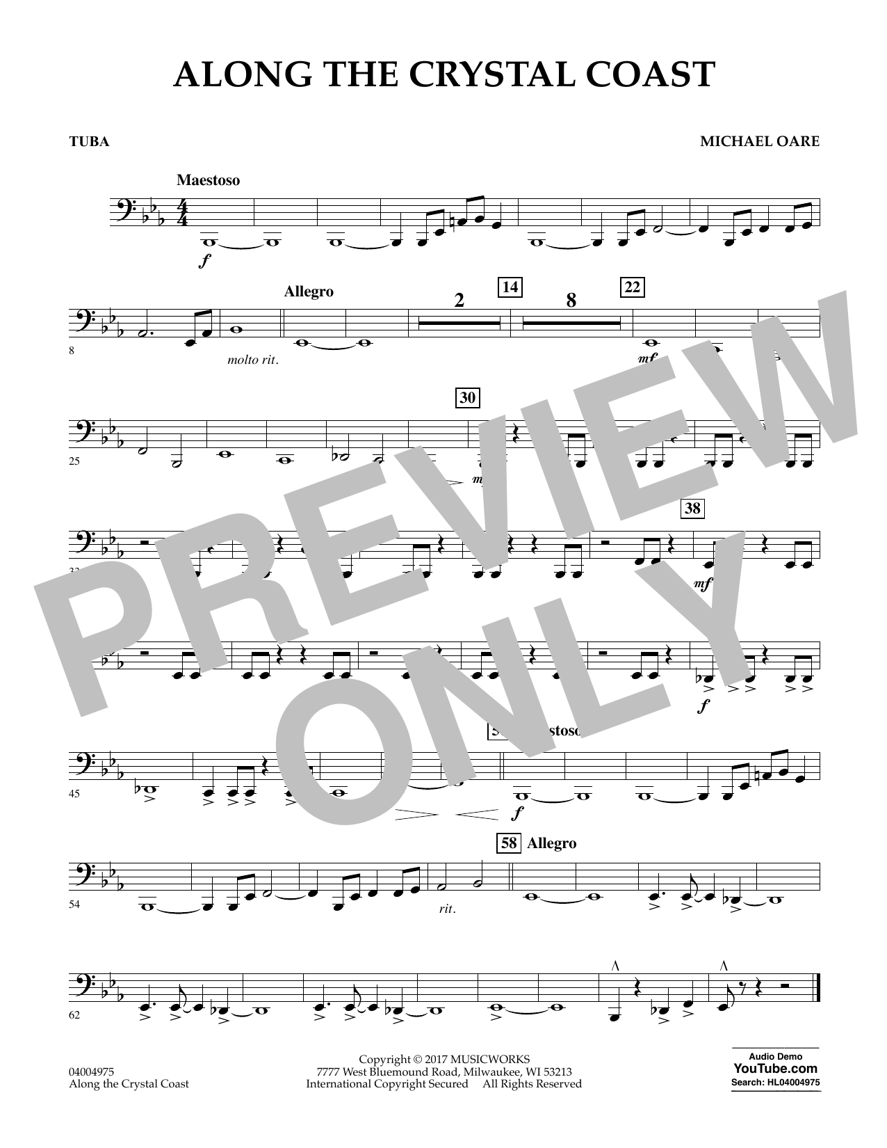 Michael Oare Along the Crystal Coast - Tuba sheet music notes and chords. Download Printable PDF.