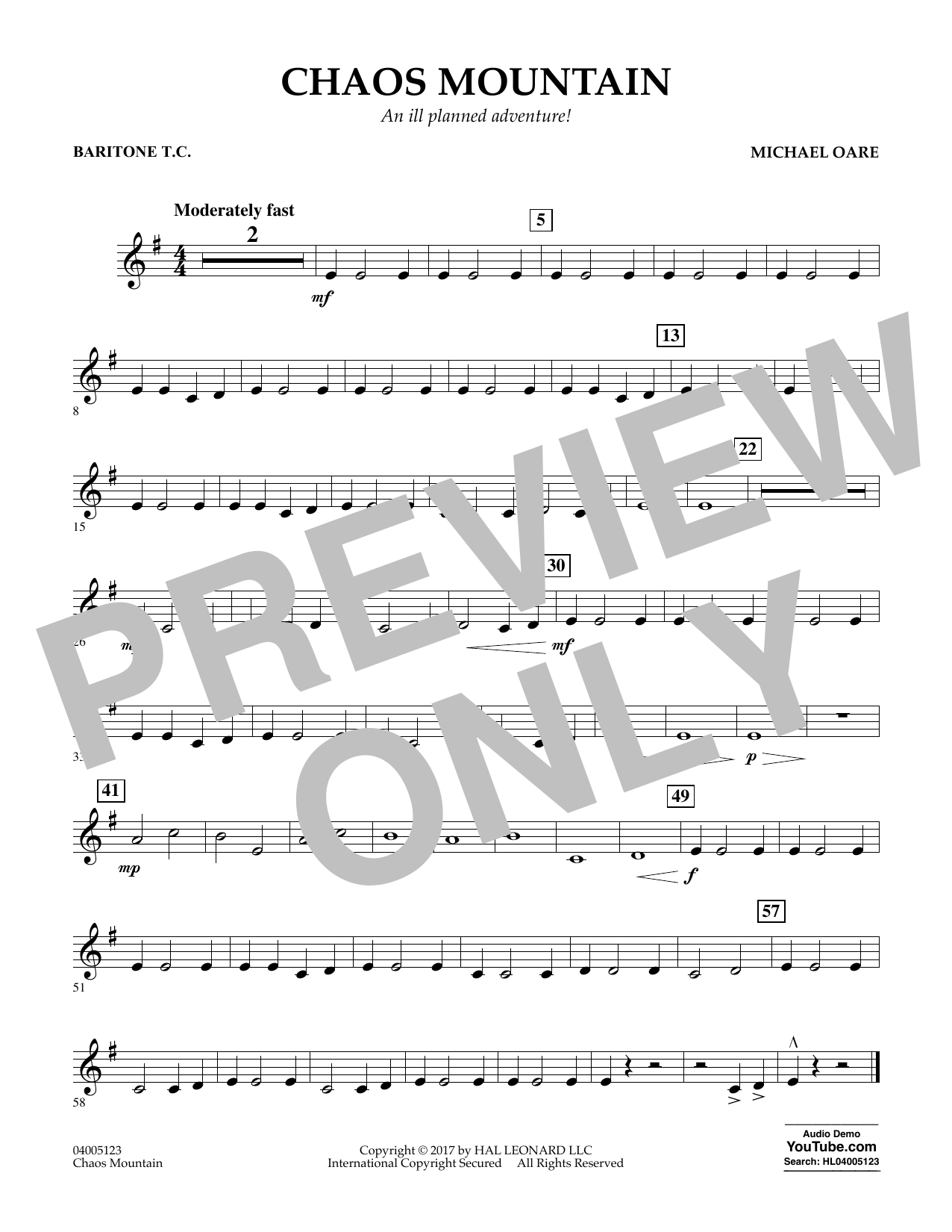 Michael Oare Chaos Mountain - Baritone T.C. sheet music notes and chords. Download Printable PDF.