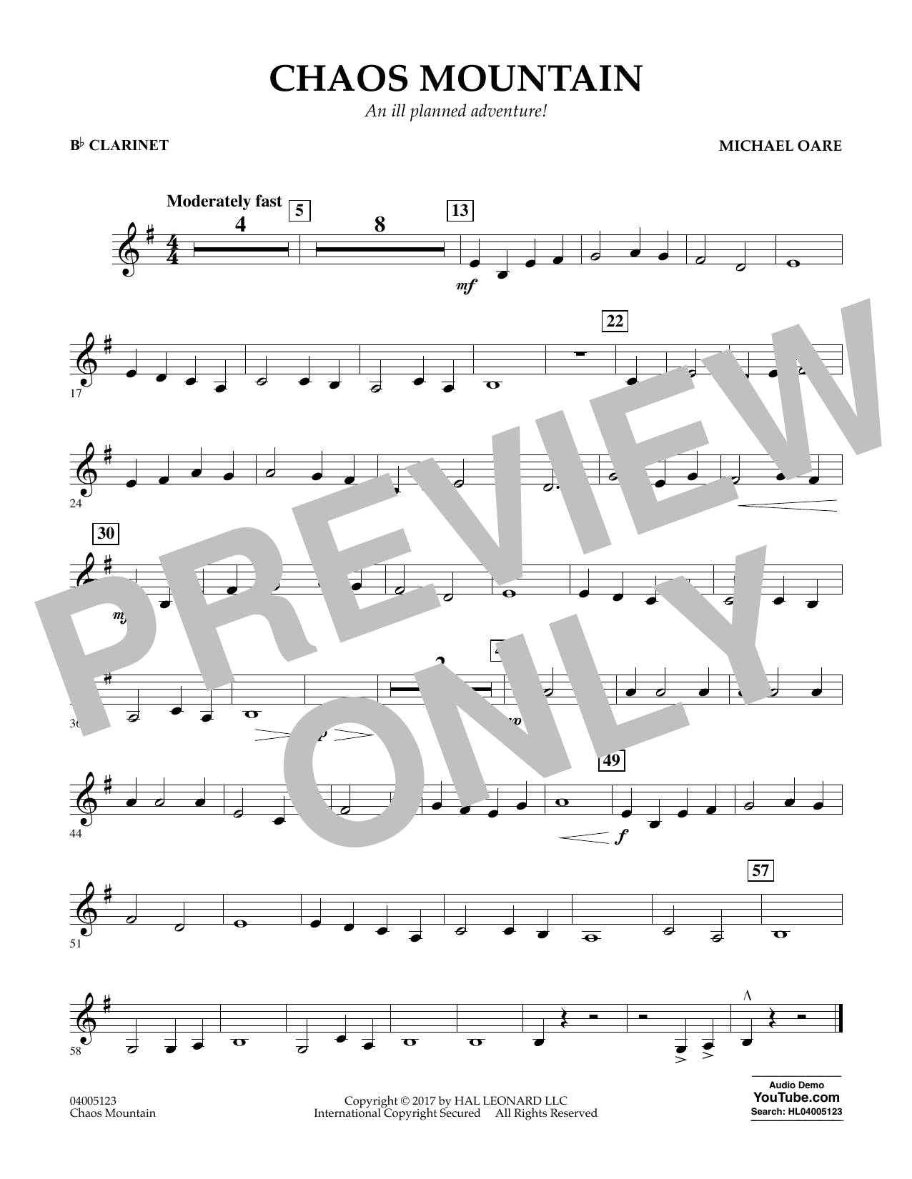 Michael Oare Chaos Mountain - Bb Clarinet sheet music notes and chords. Download Printable PDF.