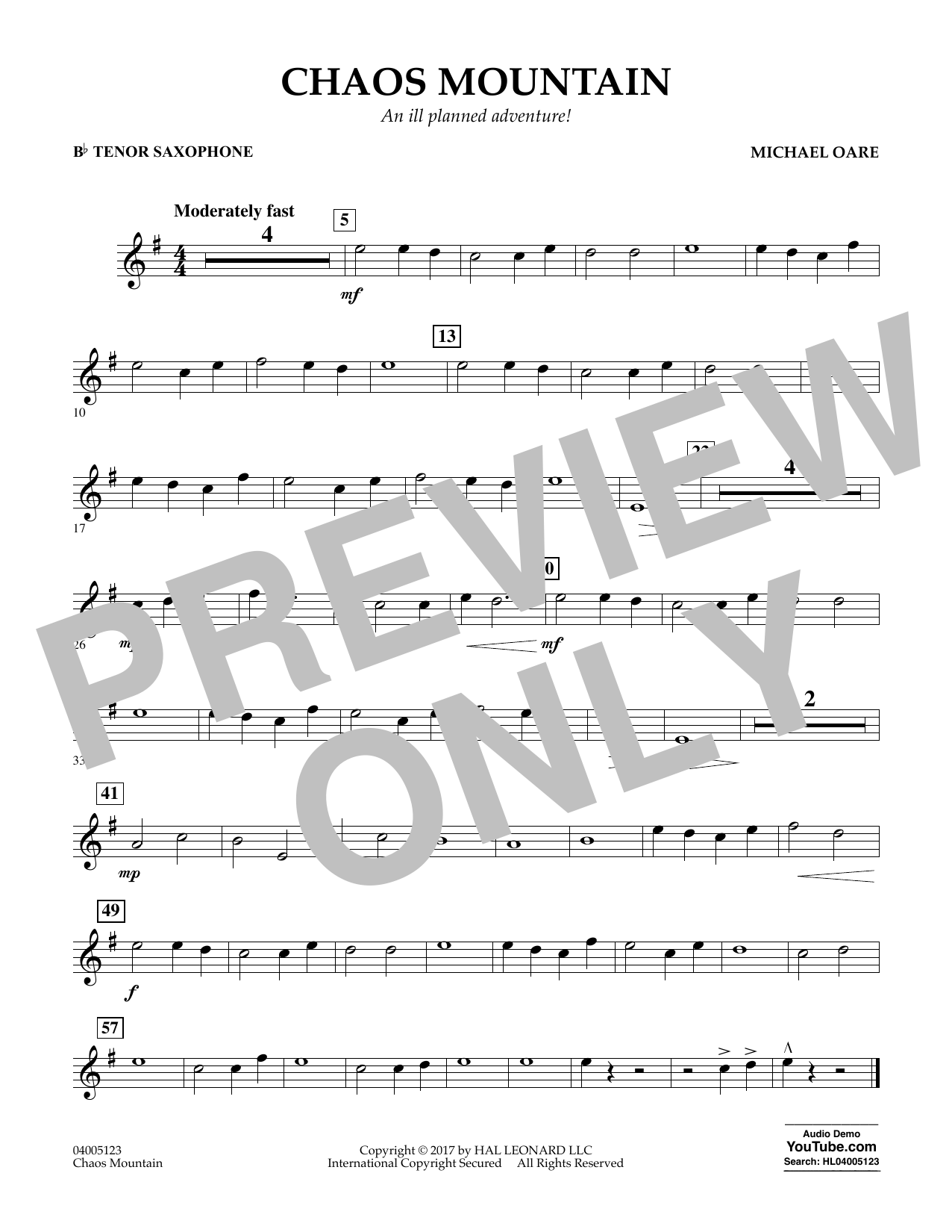 Michael Oare Chaos Mountain - Bb Tenor Saxophone sheet music notes and chords. Download Printable PDF.