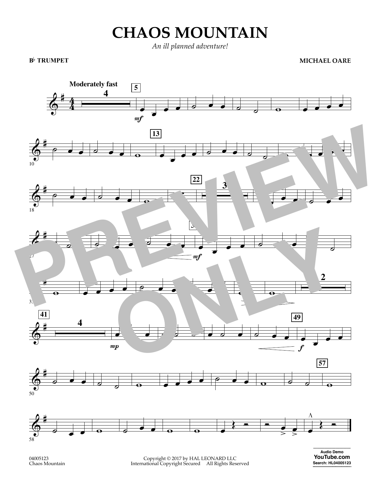 Michael Oare Chaos Mountain - Bb Trumpet sheet music notes and chords. Download Printable PDF.
