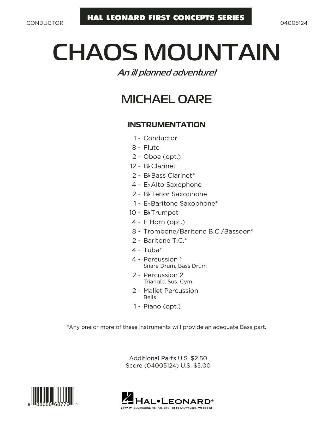 Michael Oare Chaos Mountain - Conductor Score (Full Score) sheet music notes and chords. Download Printable PDF.