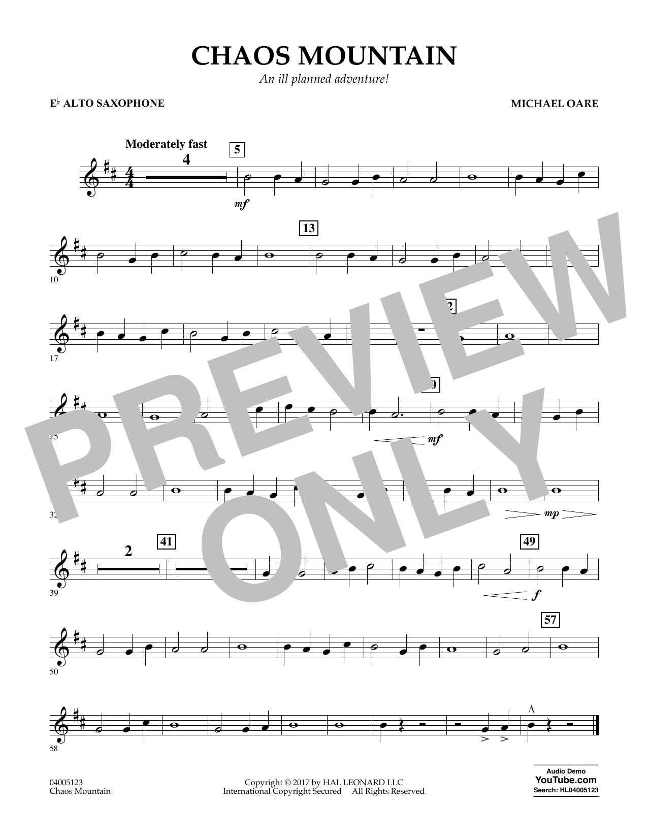 Michael Oare Chaos Mountain - Eb Alto Saxophone sheet music notes and chords. Download Printable PDF.