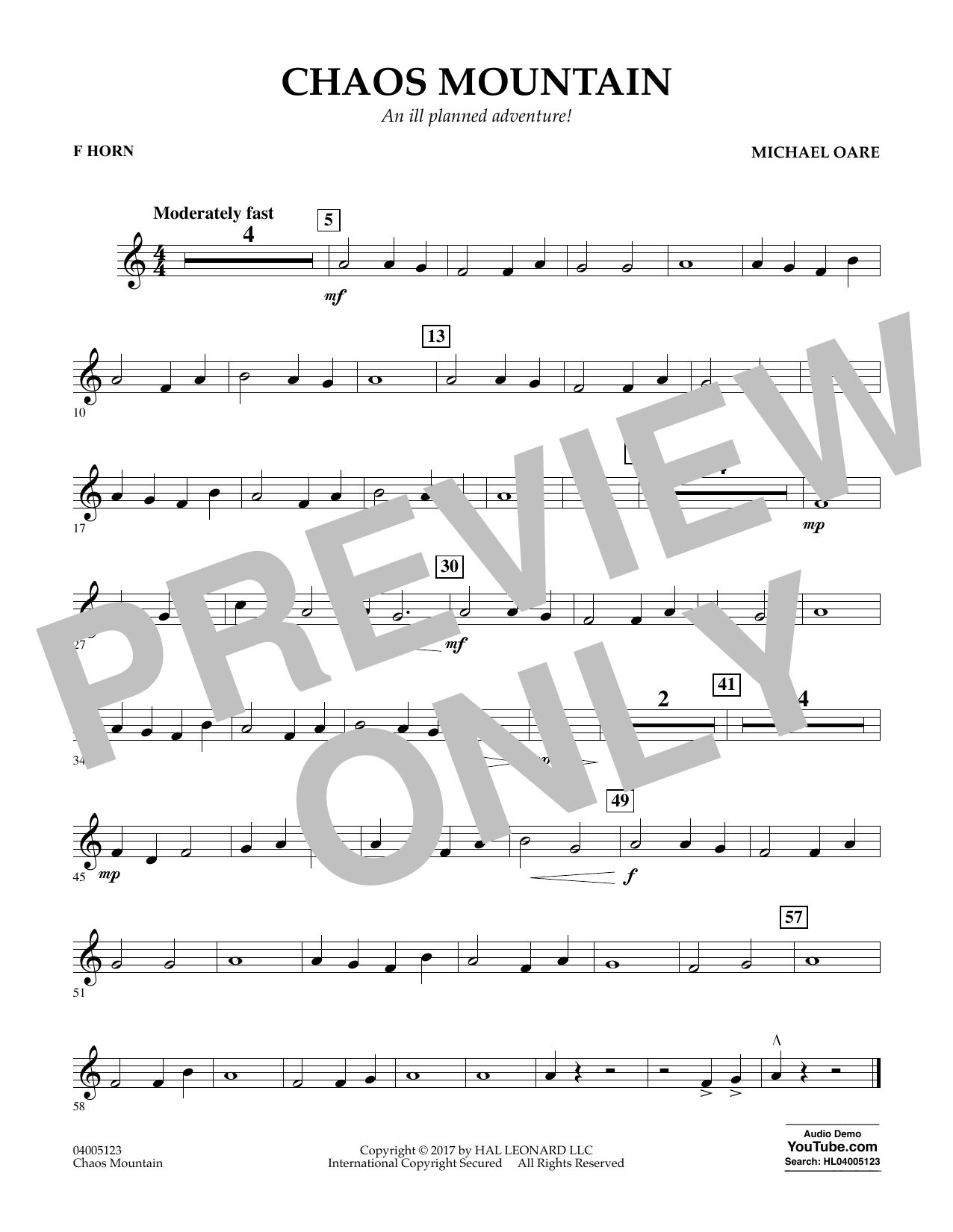 Michael Oare Chaos Mountain - F Horn sheet music notes and chords. Download Printable PDF.