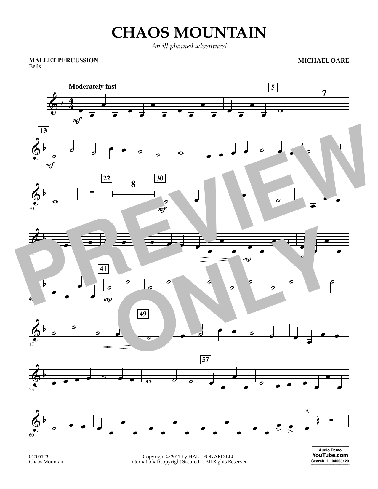 Michael Oare Chaos Mountain - Mallet Percussion sheet music notes and chords. Download Printable PDF.