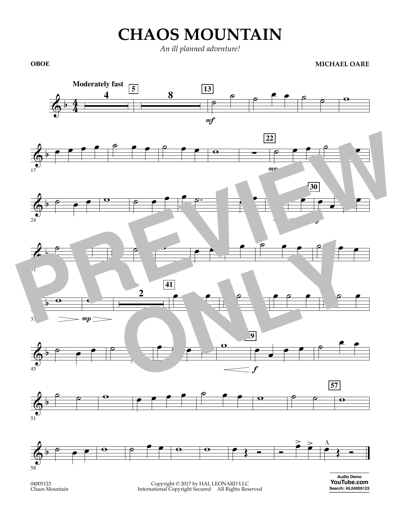 Michael Oare Chaos Mountain - Oboe sheet music notes and chords. Download Printable PDF.
