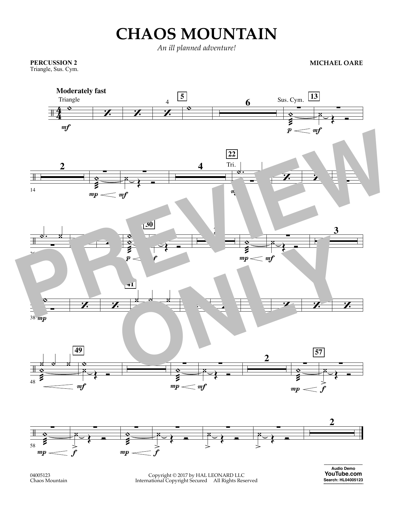 Michael Oare Chaos Mountain - Percussion 2 sheet music notes and chords. Download Printable PDF.