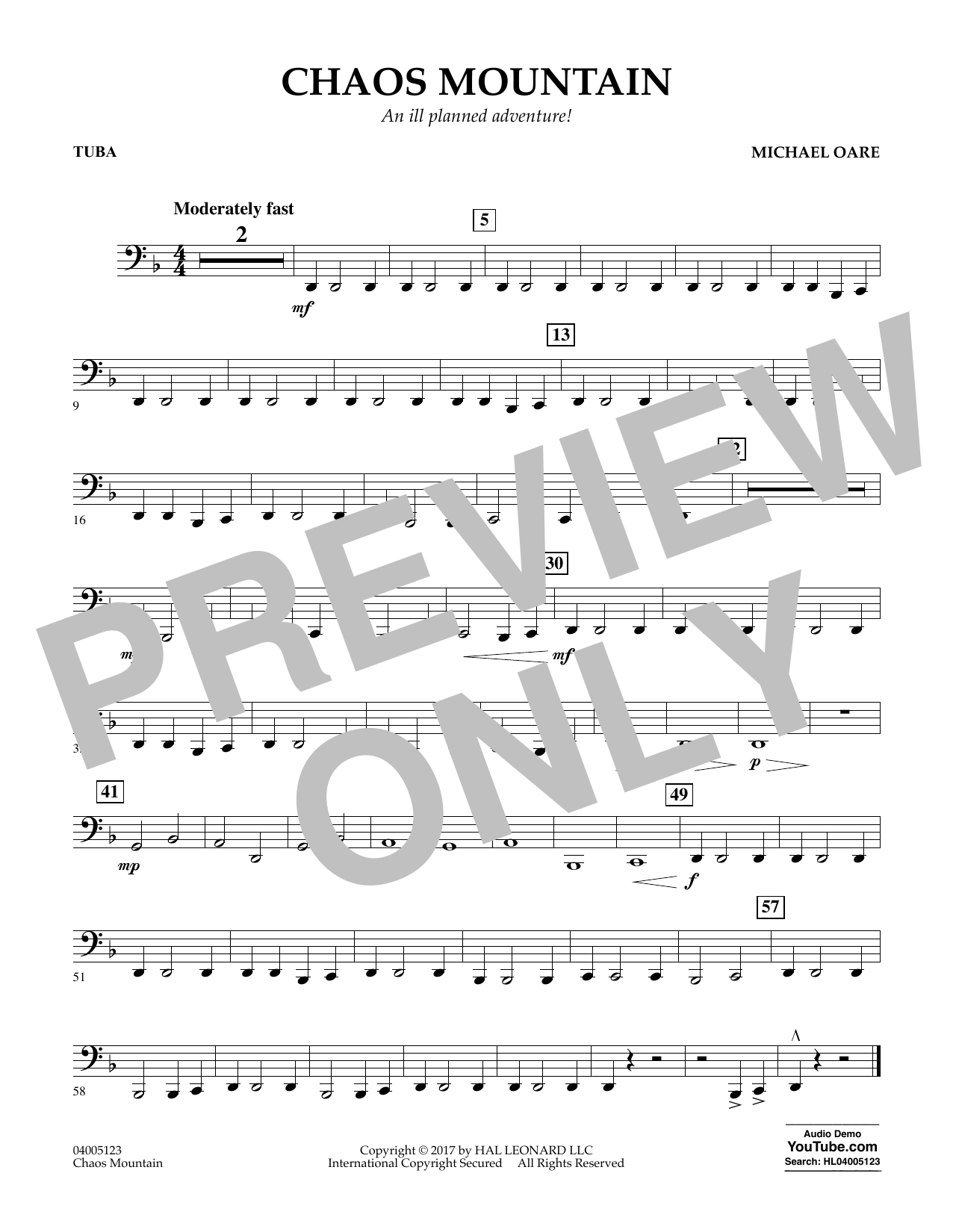 Michael Oare Chaos Mountain - Tuba sheet music notes and chords. Download Printable PDF.