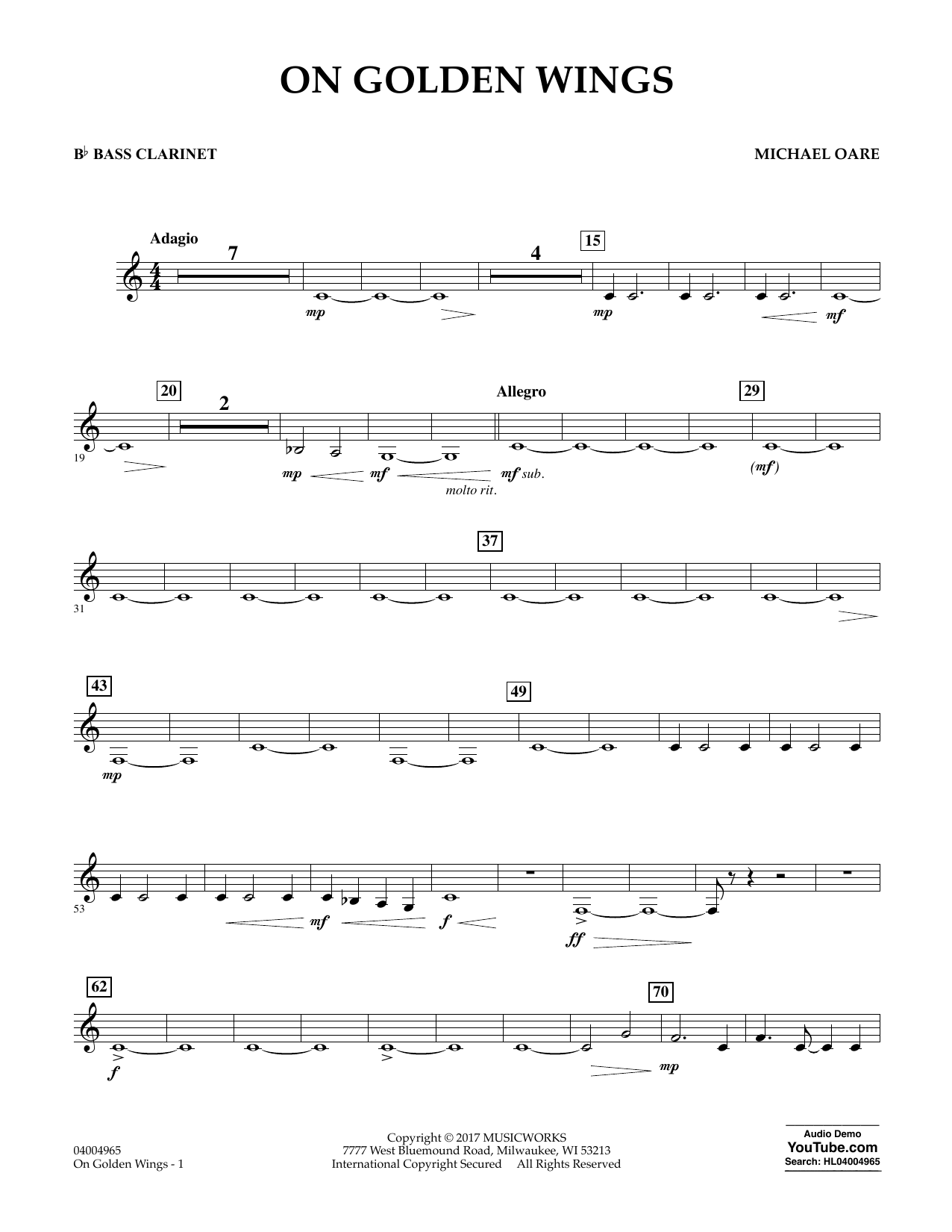 Michael Oare On Golden Wings - Bb Bass Clarinet sheet music notes and chords. Download Printable PDF.