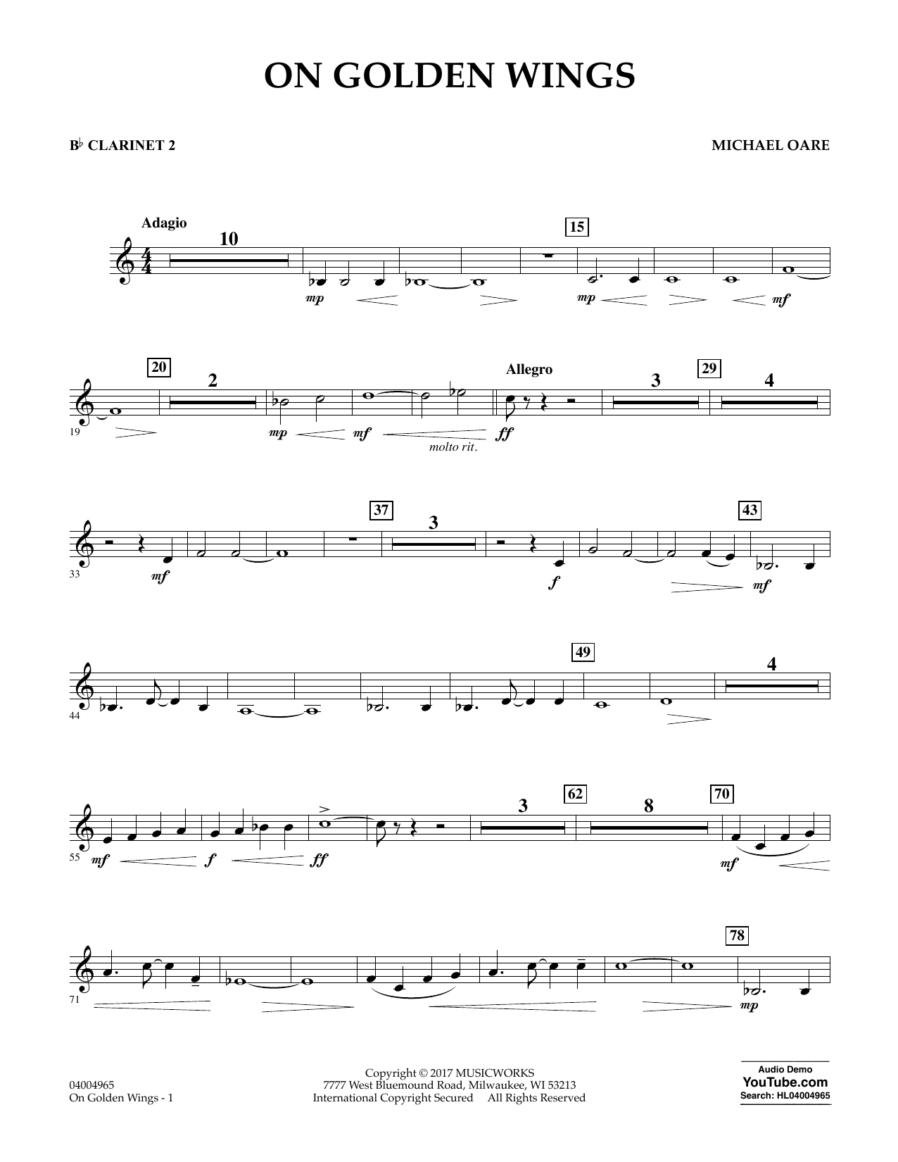 Michael Oare On Golden Wings - Bb Clarinet 2 sheet music notes and chords. Download Printable PDF.