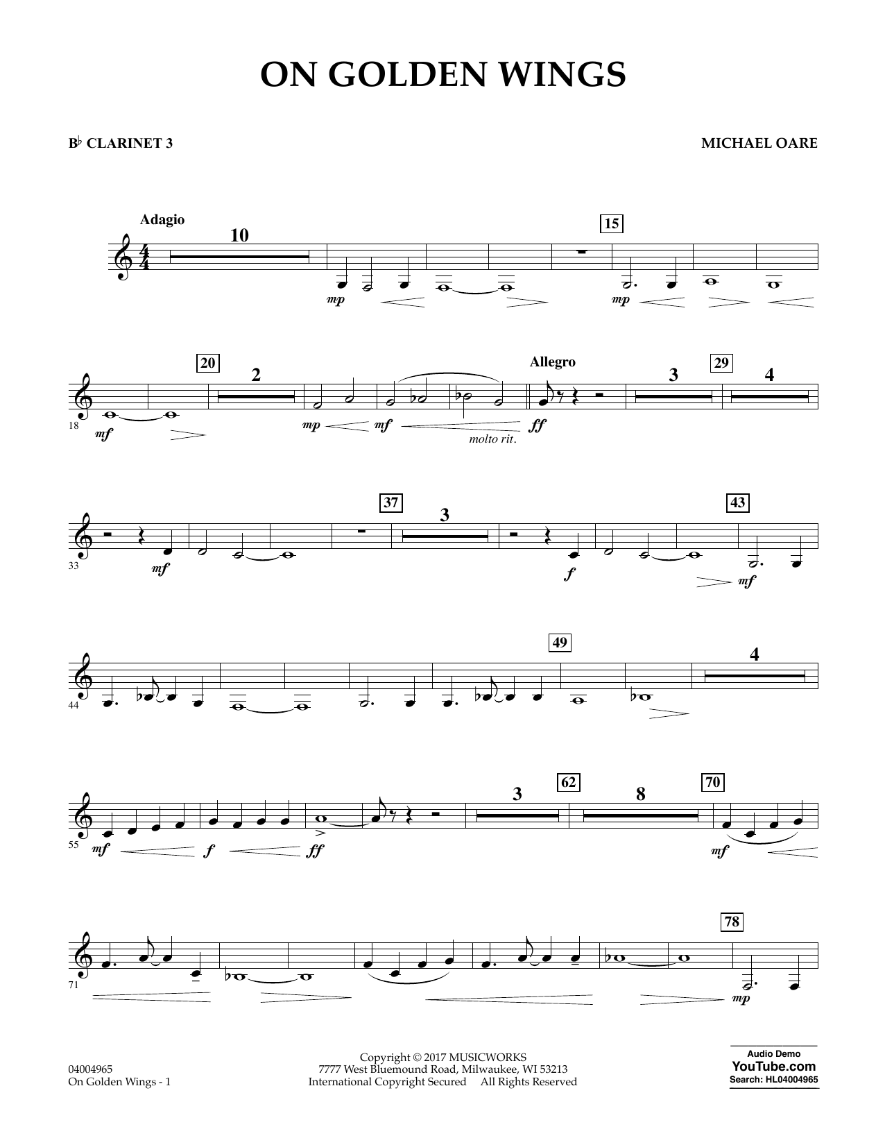Michael Oare On Golden Wings - Bb Clarinet 3 sheet music notes and chords. Download Printable PDF.