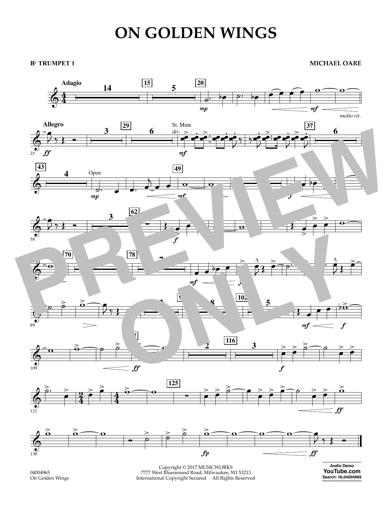 Michael Oare On Golden Wings - Bb Trumpet 1 sheet music notes and chords. Download Printable PDF.
