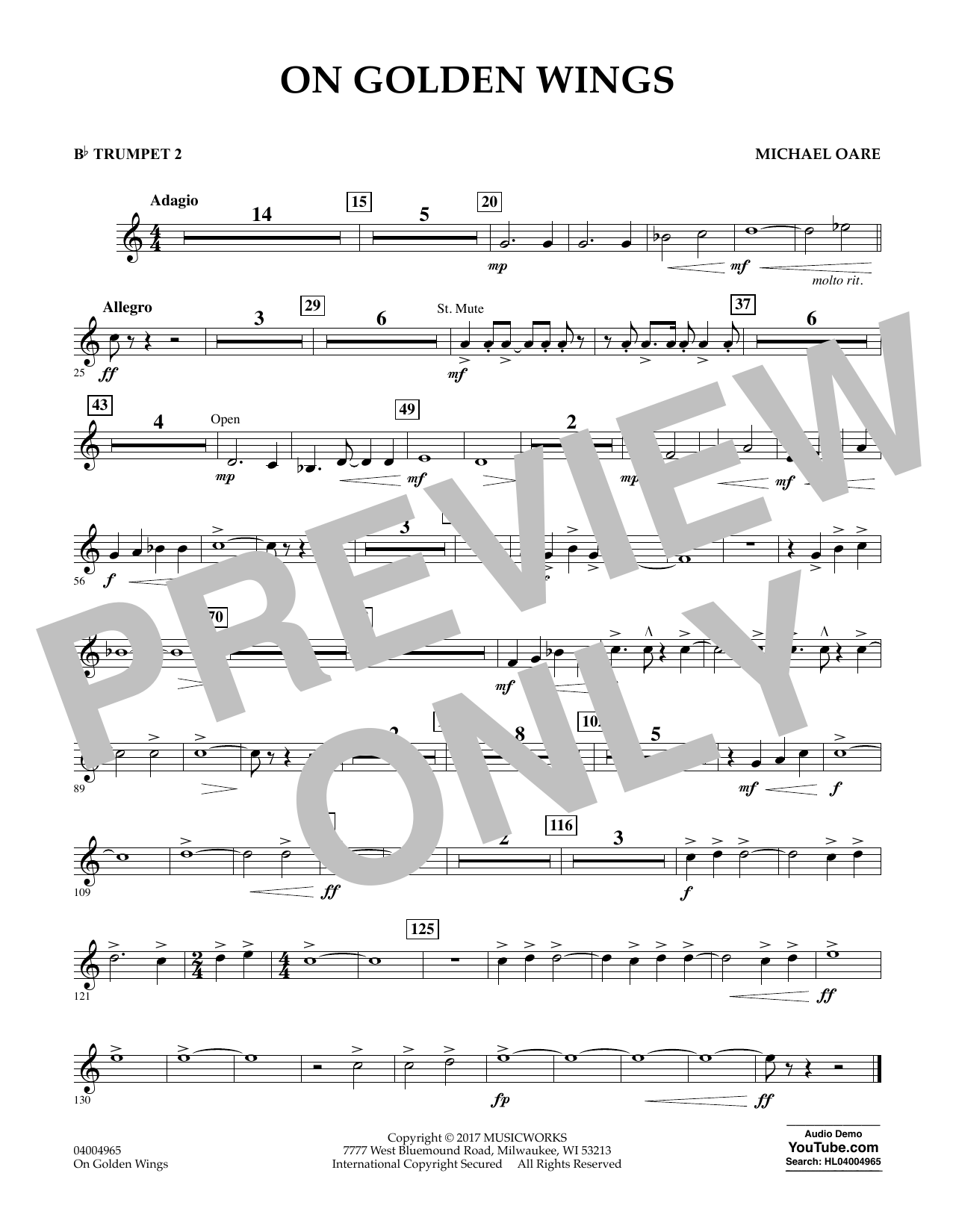 Michael Oare On Golden Wings - Bb Trumpet 2 sheet music notes and chords. Download Printable PDF.