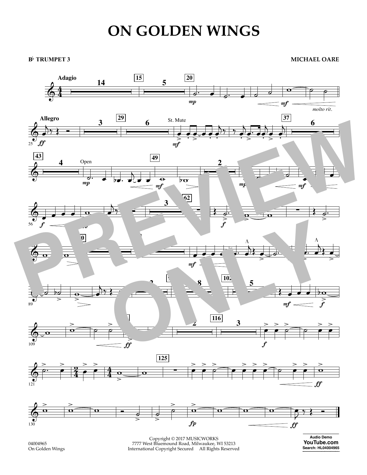 Michael Oare On Golden Wings - Bb Trumpet 3 sheet music notes and chords. Download Printable PDF.