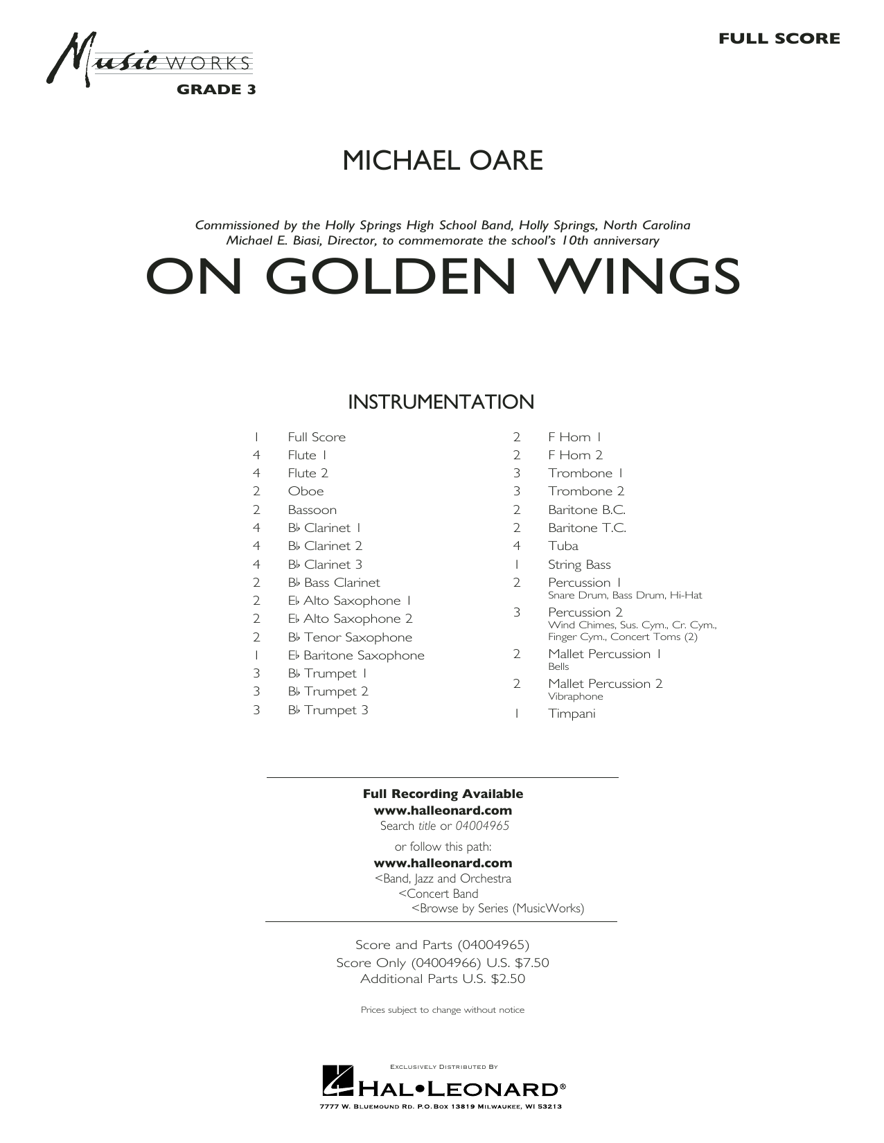 Michael Oare On Golden Wings - Conductor Score (Full Score) sheet music notes and chords. Download Printable PDF.
