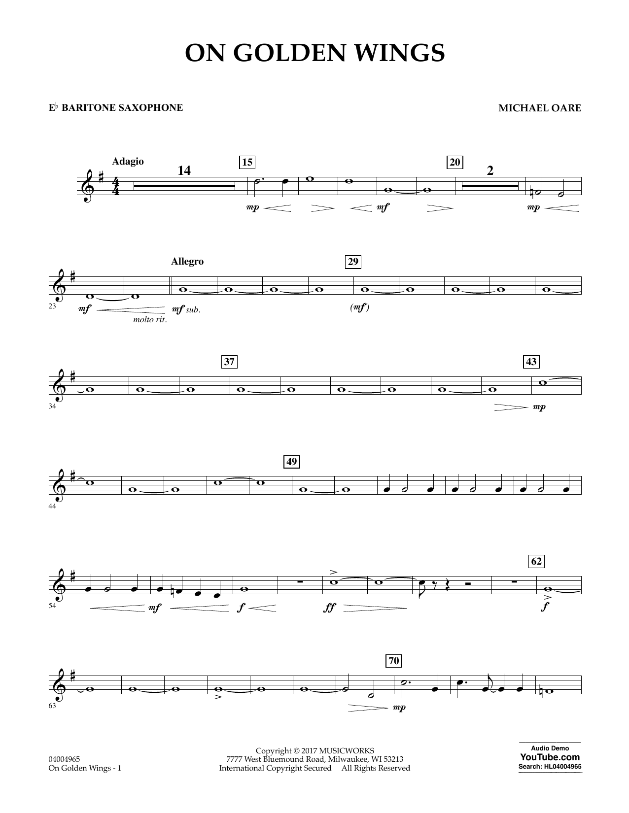 Michael Oare On Golden Wings - Eb Baritone Saxophone sheet music notes and chords. Download Printable PDF.