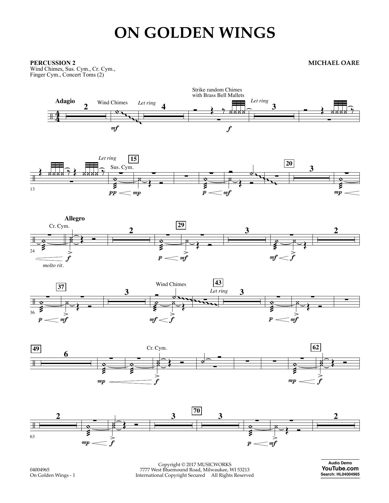 Michael Oare On Golden Wings - Percussion 2 sheet music notes and chords. Download Printable PDF.