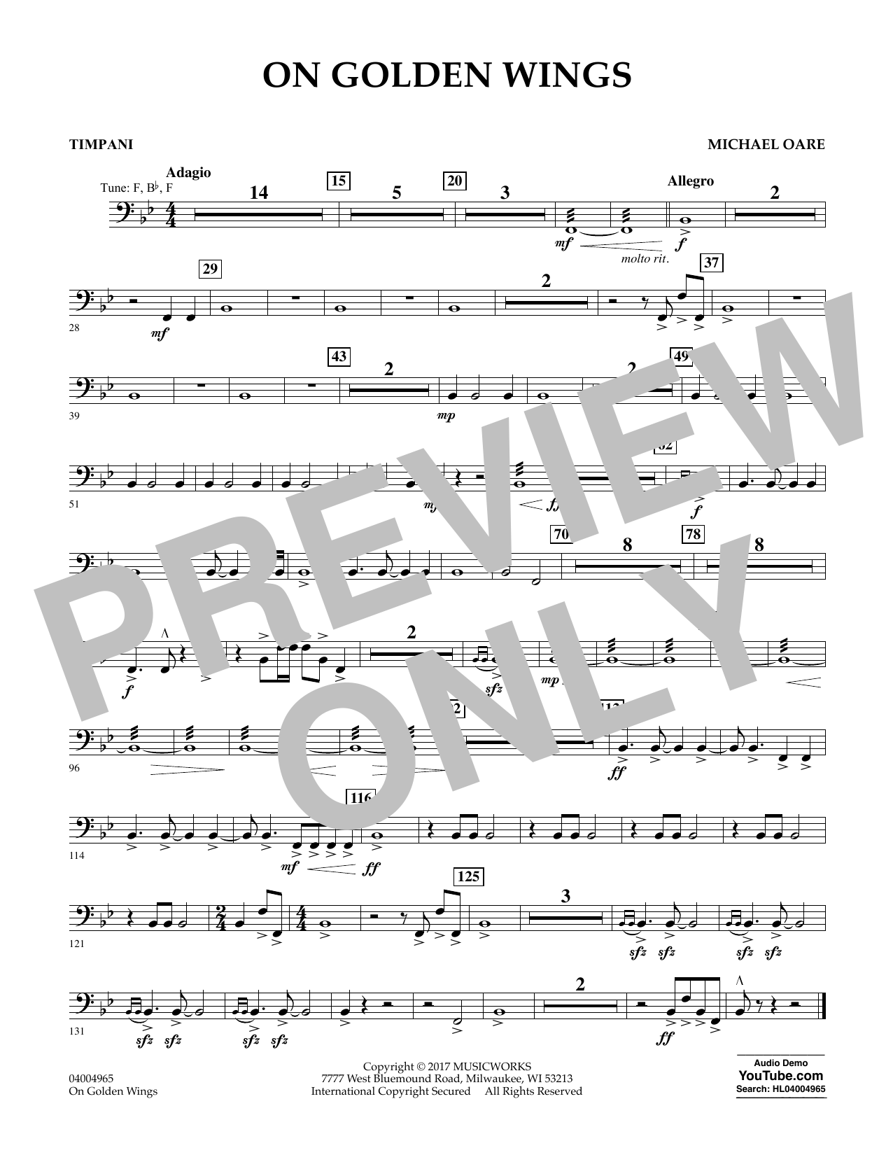 Michael Oare On Golden Wings - Timpani sheet music notes and chords. Download Printable PDF.