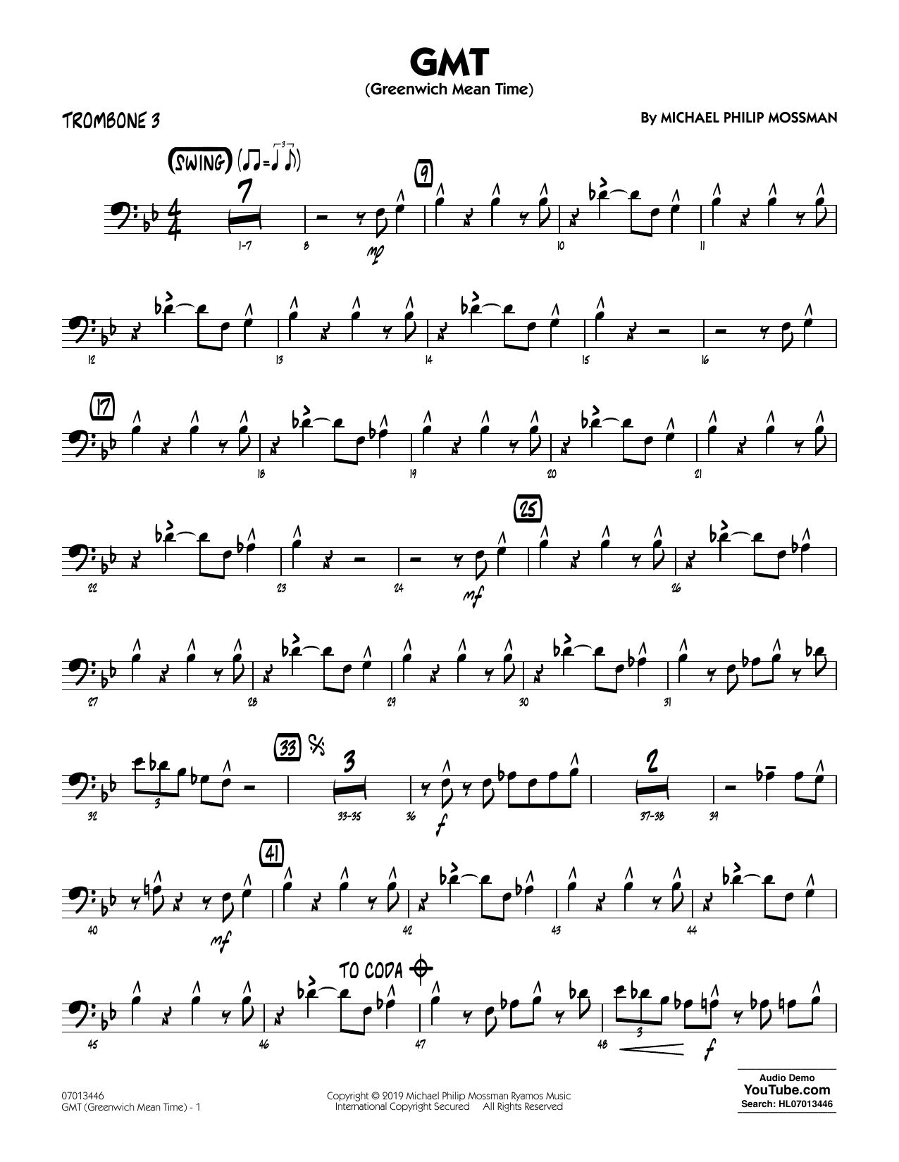 Michael Philip Mossman GMT (Greenwich Mean Time) - Trombone 3 sheet music notes and chords. Download Printable PDF.