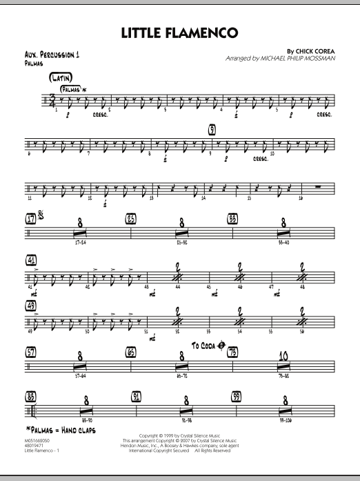 Michael Philip Mossman Little Flamenco - Aux. Percussion 1 sheet music notes and chords. Download Printable PDF.