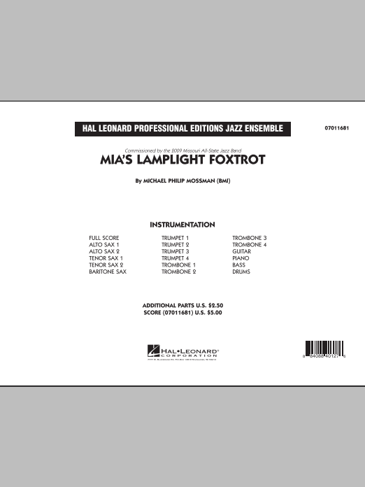 Michael Philip Mossman Mia's Lamplight Foxtrot - Conductor Score (Full Score) sheet music notes and chords. Download Printable PDF.