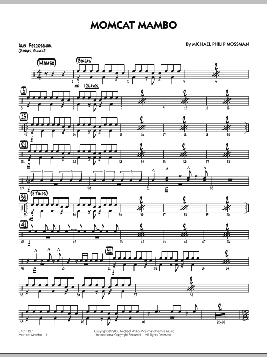 Michael Philip Mossman Momcat Mambo - Aux Percussion sheet music notes and chords. Download Printable PDF.