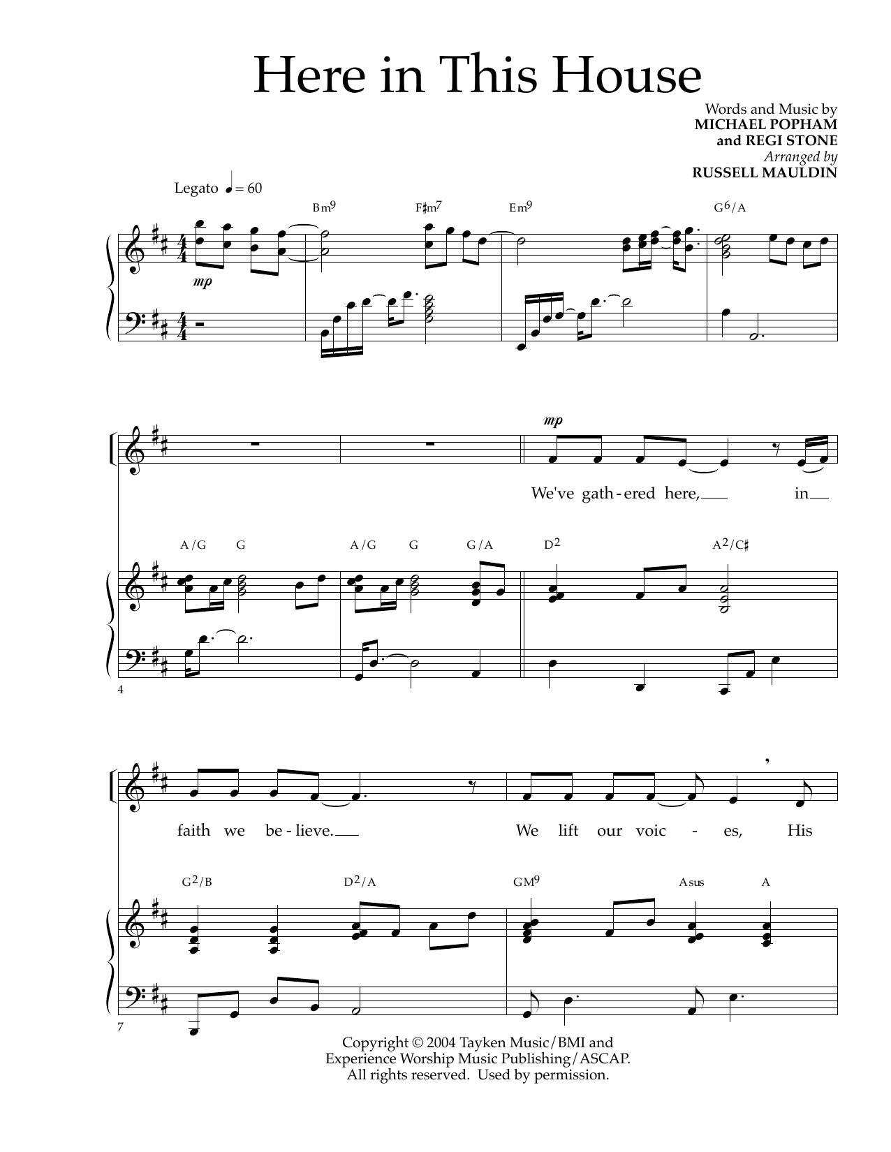 Michael Popham and Regi Stone Here In This House (arr. Russell Mauldin) sheet music notes and chords. Download Printable PDF.