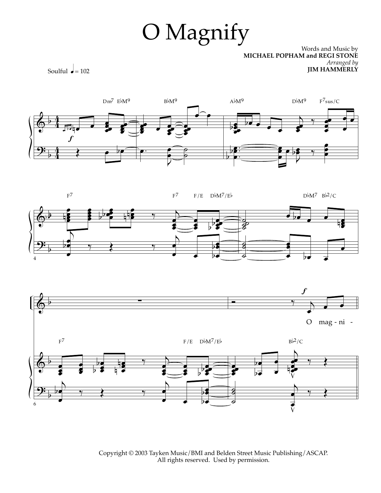 Michael Popham and Regi Stone O Magnify (arr. Jim Hammerly) sheet music notes and chords. Download Printable PDF.