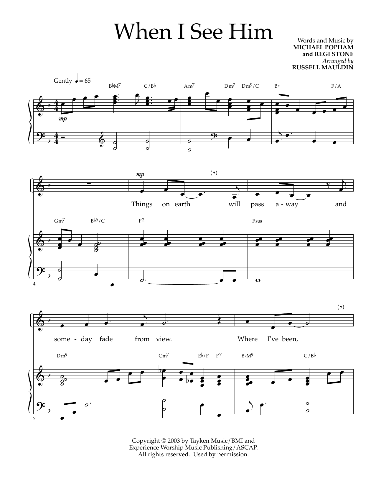 Michael Popham and Regi Stone When I See Him (arr. Russell Mauldin) sheet music notes and chords. Download Printable PDF.