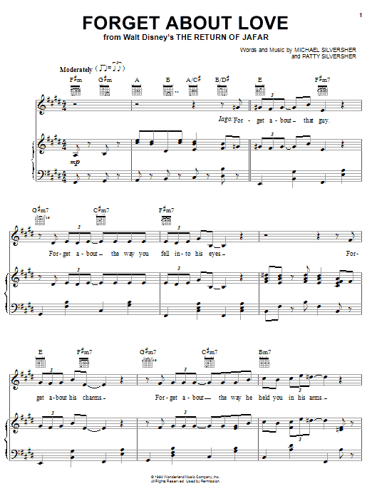 Michael Silversher Forget About Love (from The Return of Jafar) sheet music notes and chords. Download Printable PDF.