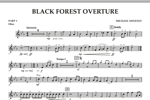 Michael Sweeney Black Forest Overture - Pt.1 - Oboe sheet music notes and chords. Download Printable PDF.