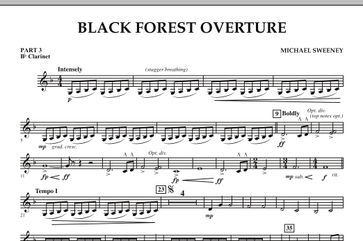 Michael Sweeney Black Forest Overture - Pt.3 - Bb Clarinet sheet music notes and chords. Download Printable PDF.