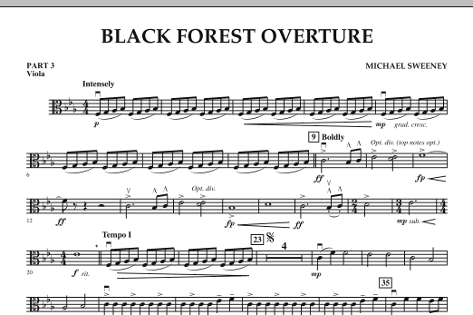 Michael Sweeney Black Forest Overture - Pt.3 - Viola sheet music notes and chords. Download Printable PDF.